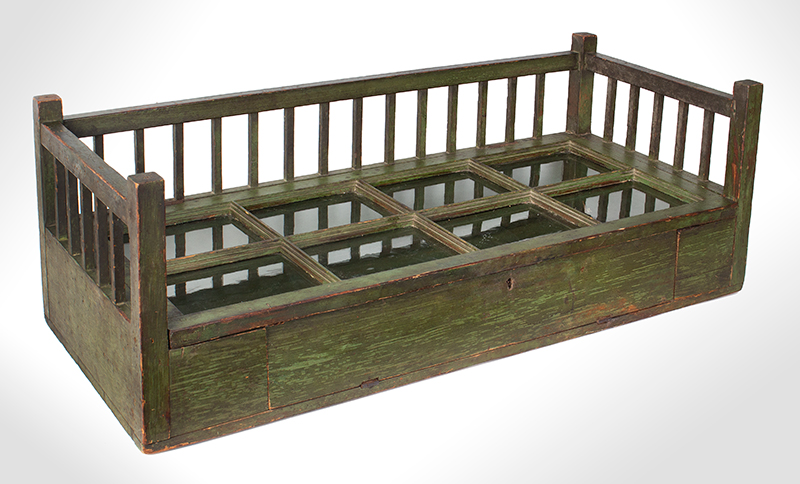 Early 19th Century Mercantile Showcase, Original Paint  New England, circa 1830-1840 Pine, original green paint, perfect for collection display…, entire view 1
