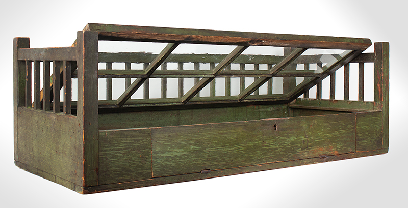 Early 19th Century Mercantile Showcase, Original Paint  New England, circa 1830-1840 Pine, original green paint, perfect for collection display…, entire view 3