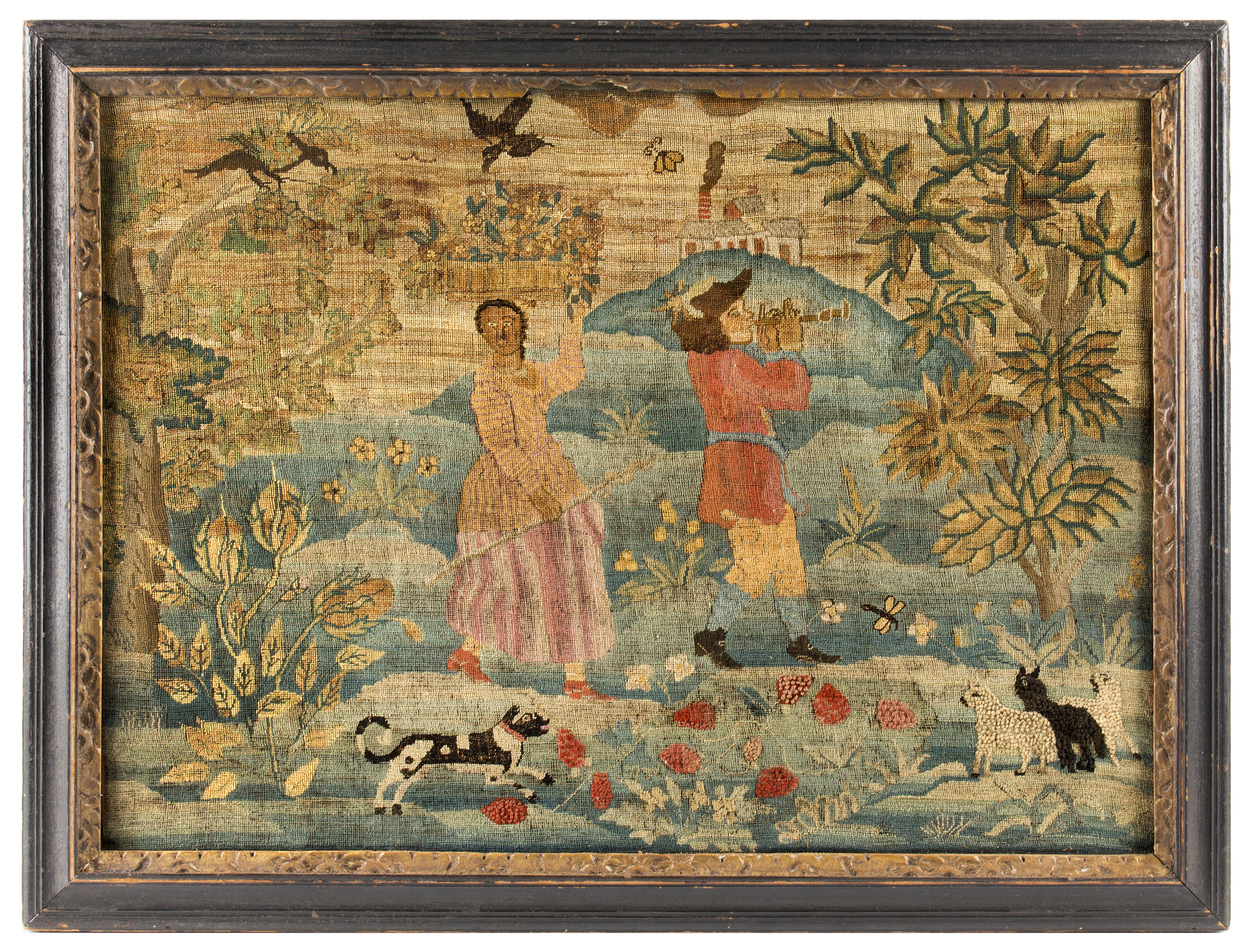 Fine and Rare 'Fishing Lady' Canvaswork Picture, Piping Shepherd and Shepherdess  Boston, Massachusetts, Circa 1740-1770  Finely wrought, silk and wool embroidery on linen ground, tent stich