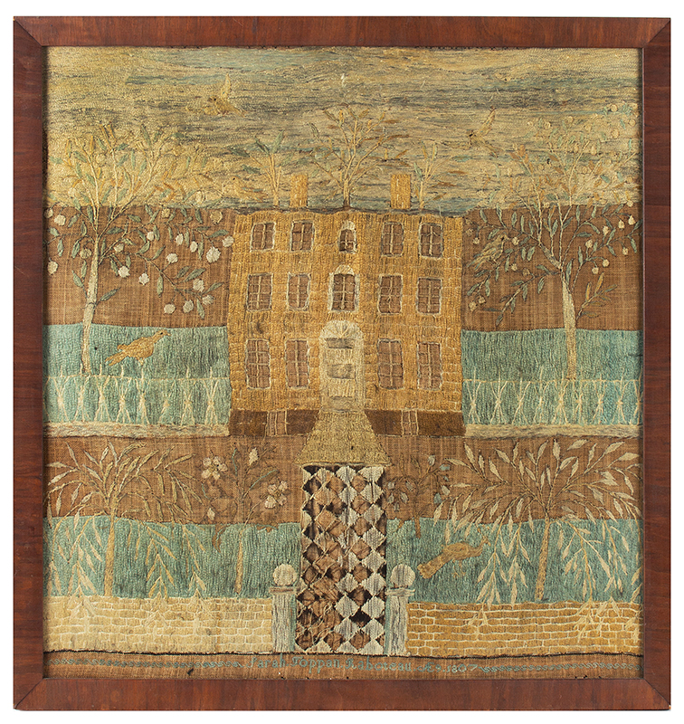 Antique House Sampler, Embroidery, Likely Newburyport, Massachusetts, 1807 Sarah Toppan Raboteau, Age 9, 1807, entire view