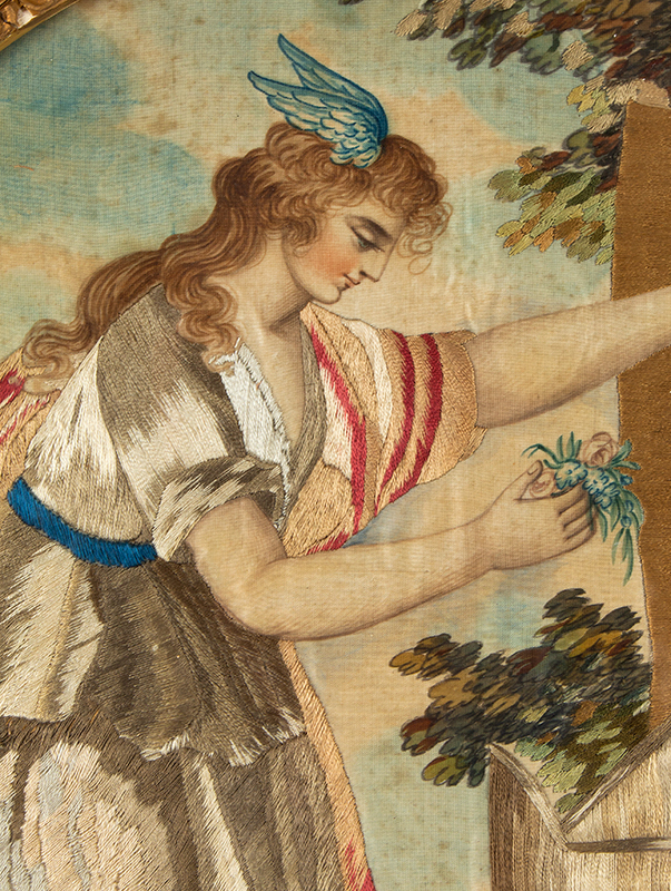 "Period Silk and Watercolor Embroidery, Fame Places Flowers at Shakespeare's Tomb Anonymous, English, Circa 1795, Very good condition, (14.5"" by 17"") Based on An Engraving by Bartolozzi, After Drawing by Angelica Kaufmann, detail view 1"