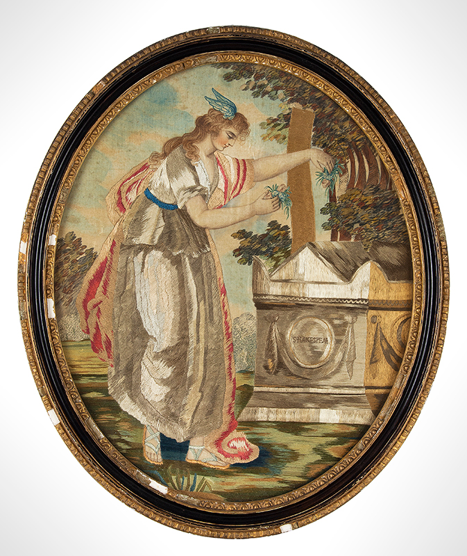 "Period Silk and Watercolor Embroidery, Fame Places Flowers at Shakespeare's Tomb Anonymous, English, Circa 1795, Very good condition, (14.5"" by 17"") Based on An Engraving by Bartolozzi, After Drawing by Angelica Kaufmann, entire view"