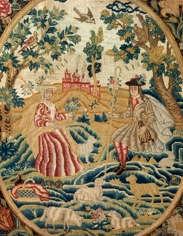 Antique Needlework Picture, Shepherd and Shepherdess, Eighteenth Century    England, circa 1750    Wool and silk tent stitch on linen, sans frame