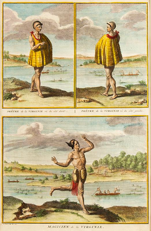 Engraving, Prêtre de la Virginie...Prêtre de la Virginie...Magicien de la Virginie Priest and Sorcerer of Virginia, By Bernard Picart (1673-1733) Engraved Book Page, Dated 1721