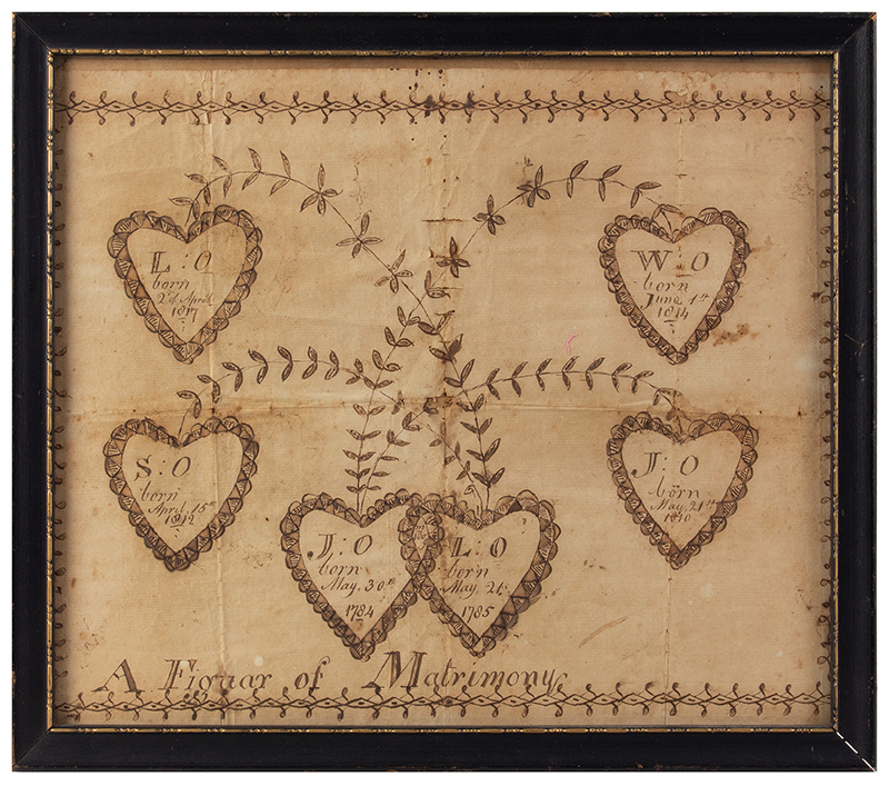 """Early 19th Century Family Record Anonymous, American School, 1817 """"A Figuar [sic] of Matrimony"""", entire view"""