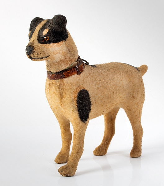 Felt-Beige-Fox-Terrier-Candy-Container-with-Leather-Collar_MH10-84