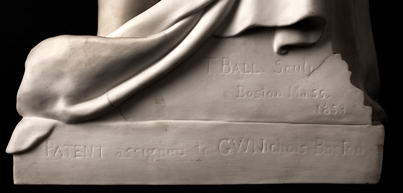 Daniel Webster, Parian Figure After Thomas Ball, G.W. Nichols, Boston, 1853, detail view 4