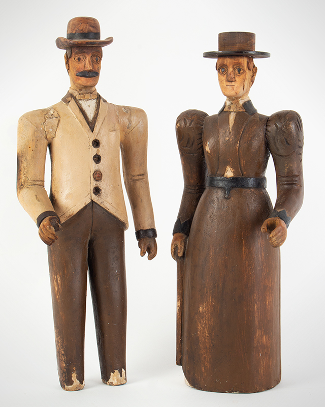 19th Century Folk Art Figures, Carved & Painted, Man and Woman Maine, Circa 1870's Purportedly Used as Display in Augusta Tailors Shop, entire view 1