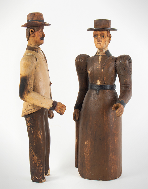 19th Century Folk Art Figures, Carved & Painted, Man and Woman Maine, Circa 1870's Purportedly Used as Display in Augusta Tailors Shop, entire view 2
