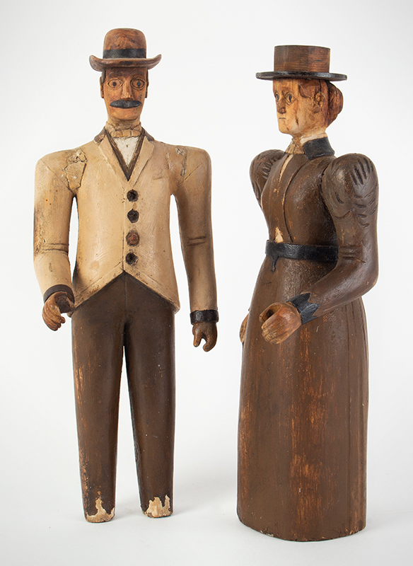 19th Century Folk Art Figures, Carved & Painted, Man and Woman Maine, Circa 1870's Purportedly Used as Display in Augusta Tailors Shop, entire view 3