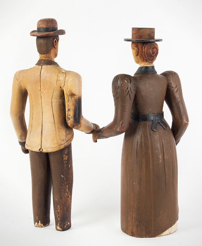 19th Century Folk Art Figures, Carved & Painted, Man and Woman Maine, Circa 1870's Purportedly Used as Display in Augusta Tailors Shop, entire view 4