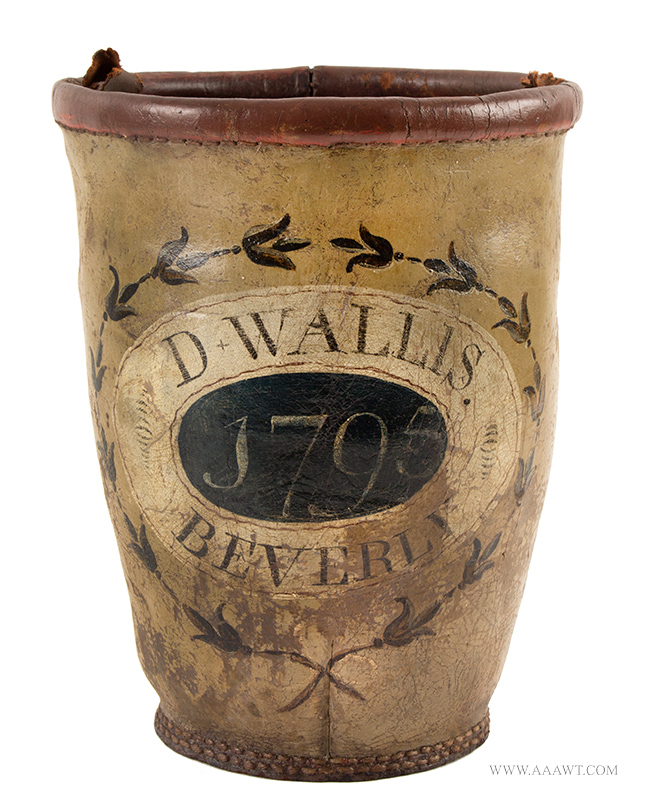 Fire Bucket, D. Wallis  Beverly, MA, 1795  Painted Leather, entire view