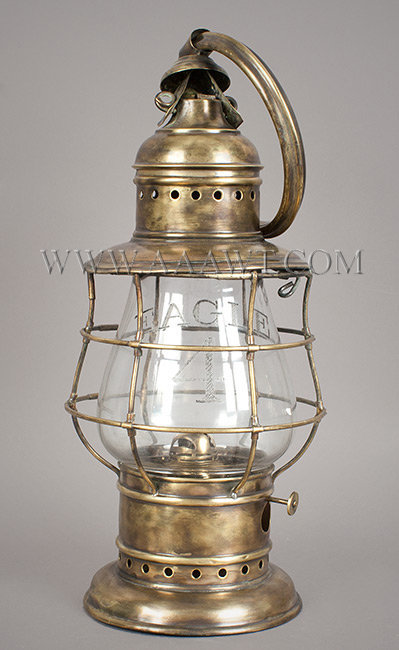 Fire Lantern, Brass, Globe Engraved 'Eagle 4'  Late 19th Century, entire view
