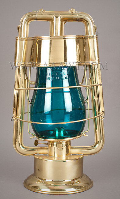 Fireman's Lantern, Hot Blast, C.T. Ham No. 0, Blue Dietz Globe  Charles Trafton Ham  Rochester, New York  1890 to 1900, entire view