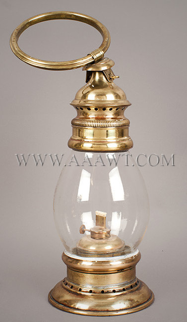 Brass Fireman's Lantern, Wrist Lantern, Fixed Clear Globe, Early  'Pinch Pot' Type Fount, Whale Oil Burner  19th Century, entire view