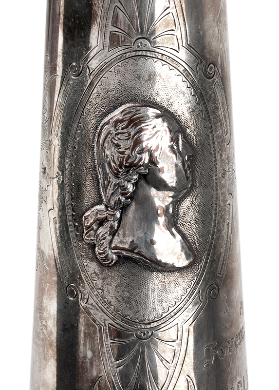 19th Century Presentation Fire Department Speaking Trumpet Anonymous maker, Circa 1870 Heavy silver-plated copper, interior gold washed, detail view 1