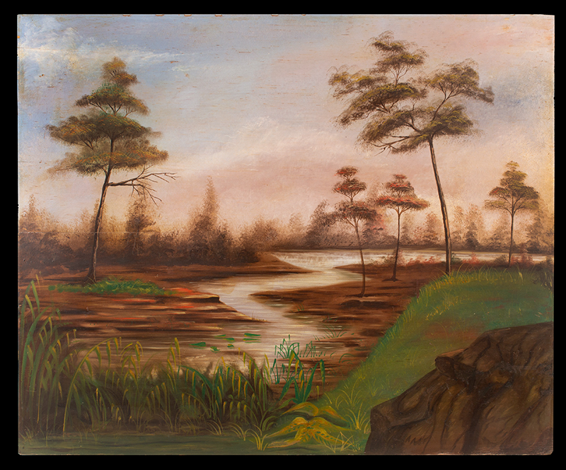 Folk Art Painting on Panel, Pond & Meandering Brook Within Woodland Landscape American School, Second Half 19th Century Oil on whitewood panel, beautiful vista, sky and trees, entire view