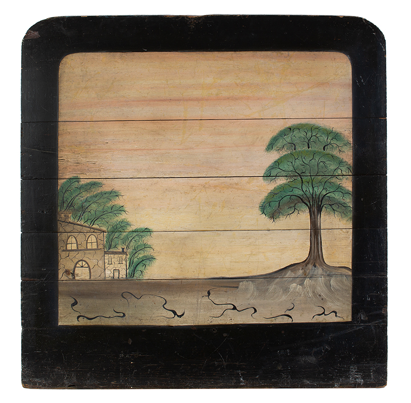 Painted Decorated Fireboard York County, Pennsylvania, Circa 1820 Stone House within landscape, sunset sky within black border, entire view