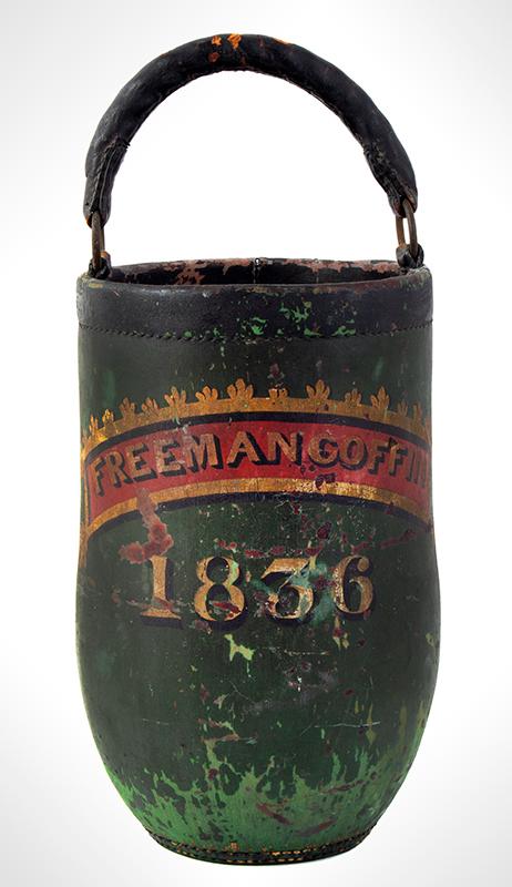Antique, Leather Fire Bucket, Original Condition, Freeman Coffin Martha's Vineyard, 1836, entire view 1