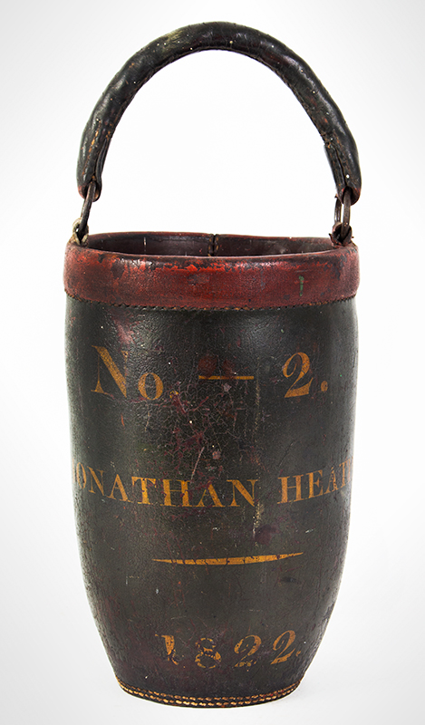 """19th Century Leather Fire Bucket, Original Paint & Handle No. 2, Jonathan Heath, 1822, Possibly New London, Connecticut Fine original condition, no cracks in handle, one """"O"""" ring tab is an old replacement, entire view 1"""