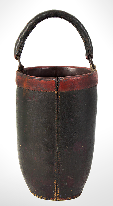"""19th Century Leather Fire Bucket, Original Paint & Handle No. 2, Jonathan Heath, 1822, Possibly New London, Connecticut Fine original condition, no cracks in handle, one """"O"""" ring tab is an old replacement, entire view 3"""