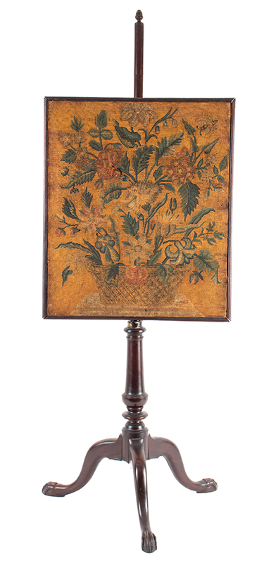 Fire Screen, Queen Anne Pole Screen, Mahogany, Embroidered Floral Panel Possibly American, Circa 1760