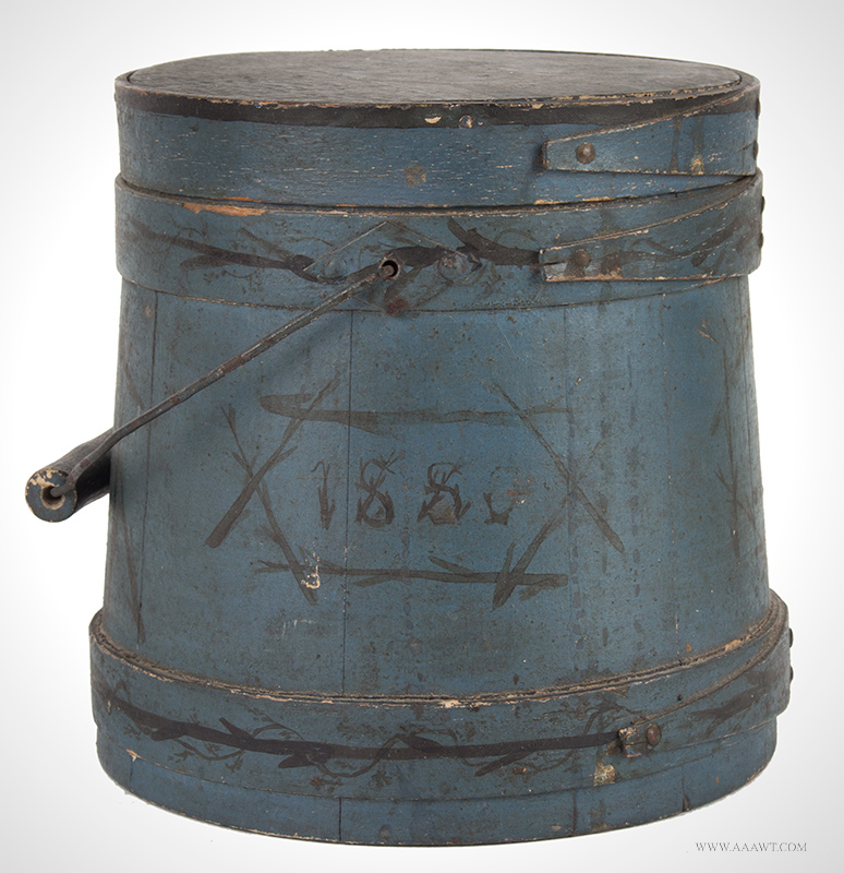 Small Bail-Handle Sugar Bucket,  Paint Decorated Firkin, Blue Paint, Dated 1880  Campy twiggy decoration, great potted tree, trailing vines, height: 6.25""