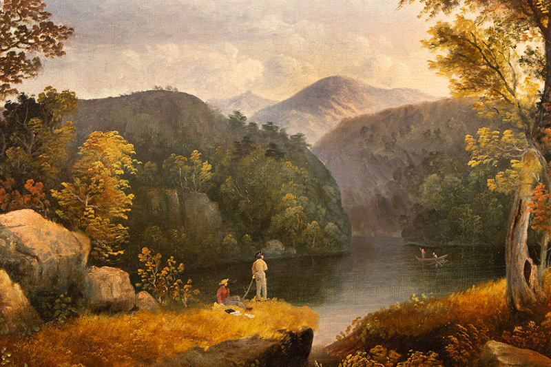 Antique Painting, Fishing Party on the Upper Hudson, Thomas Doughty  Attributed to Thomas Doughty (1793-after 1860), sans frame