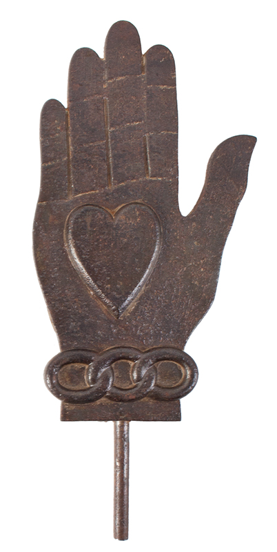 Antique Cast Iron Odd Fellows Heart N' Hand Flag Holder Likely 19th Century, entire view