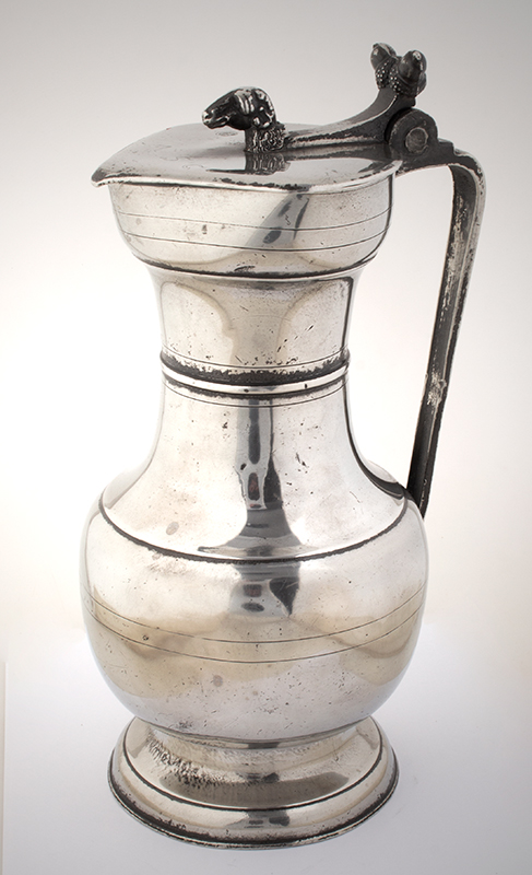Antique Pewter Wine Flagon, Swiss, 1780 Bright finish, entire view