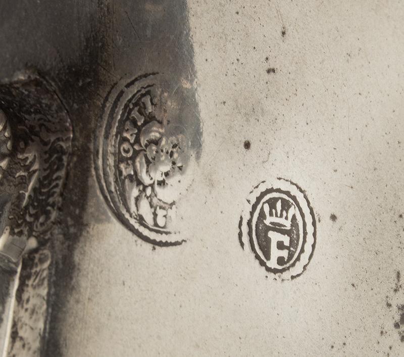Antique Pewter Wine Flagon, Swiss, 1780 Bright finish, manks detail