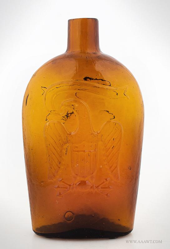 Double Eagle Flask, Brilliant Orange Amber, GII-118, Zanesville, OH Circa 1865, entire view