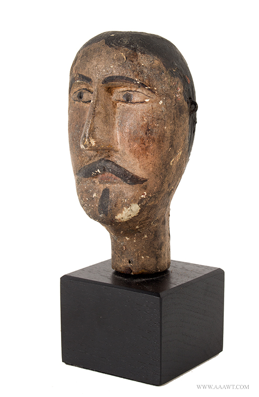 Folk Art Carving, Mustached Man's Head, Original Surface Anonymous, Late 19th Century