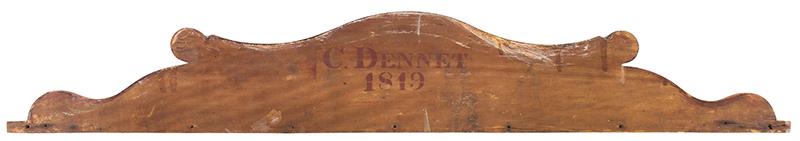 Splash Back, Fancy Scrolling, Original Grain Paint Stenciled on back: C. DENNET – 1819 Wavy Birch, back view