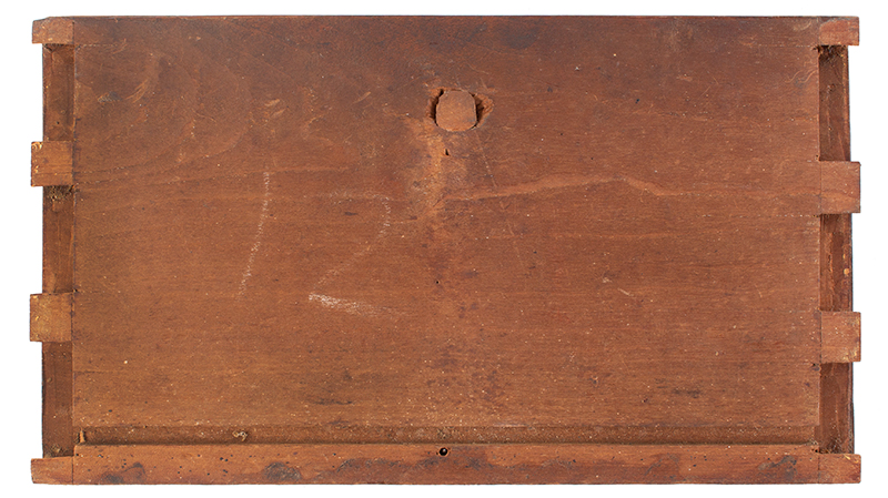 Sunflower Carved Cherry Drawer Fronts, Thumb Molded Connecticut, circa 1765, drawer 1 back
