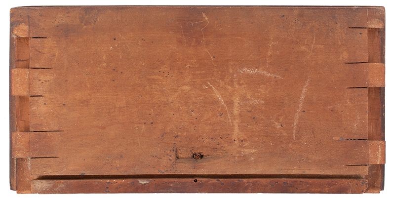 Sunflower Carved Cherry Drawer Fronts, Thumb Molded Connecticut, circa 1765, drawer 2 back