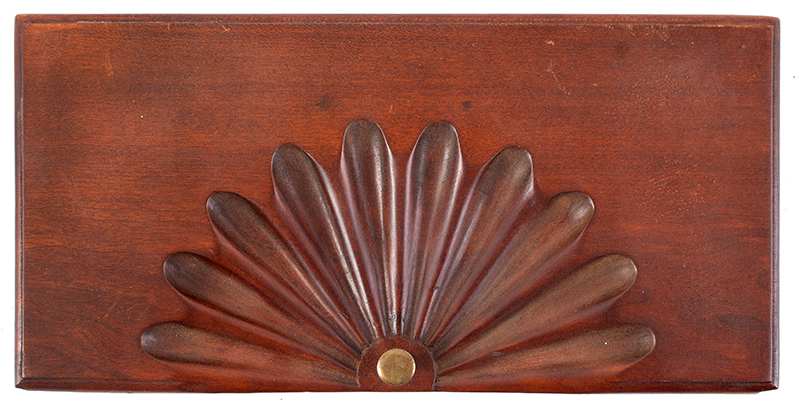 Sunflower Carved Cherry Drawer Fronts, Thumb Molded Connecticut, circa 1765, drawer 1 front