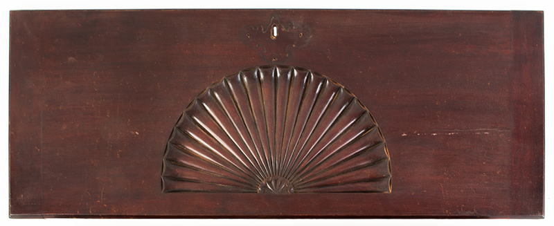 Mahogany desk lid with carved fan, likely centennial, front view