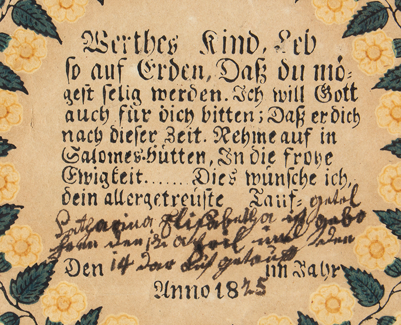 Antique Fraktur, Scarce Woodblock Printed and Watercolor Form, Baptism, 1825 Anonymous, detail view 1