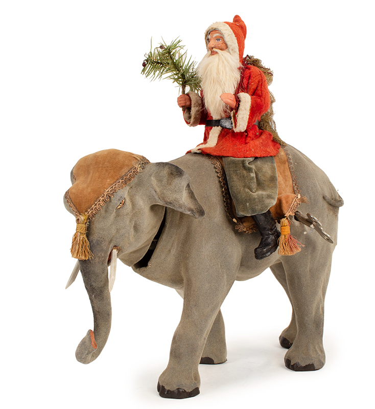 French Elephant Nodder with Santa Rider