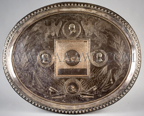 Commemorative Tray Featuring relief medallion portraits of Washington, Webster, and Clay; the Declaration of Independence with Trumbull's painting of the signing in the center;  Silver Plate, entire view