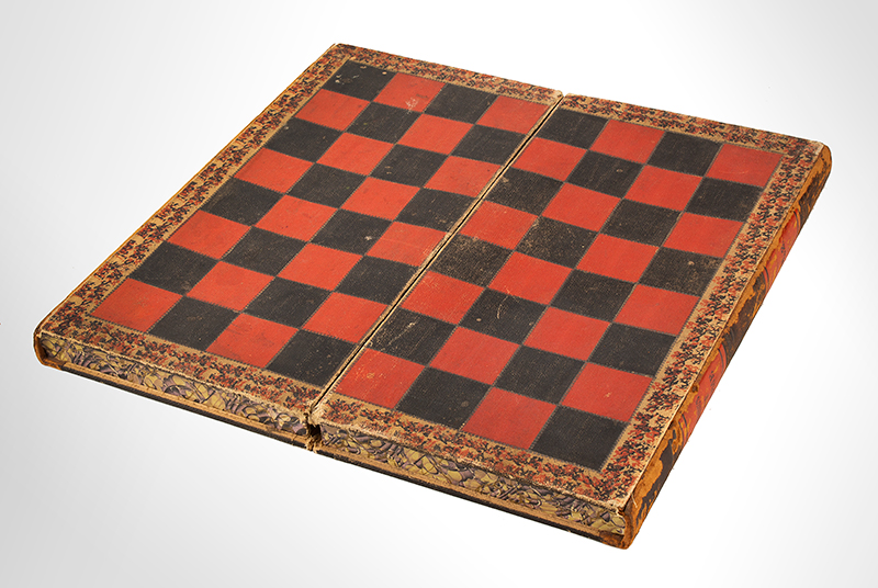 Antique Book Form Gameboard, Folding Box, Checkers & Backgammon, Evenings at Home, 19th C.  Pebbled and embossed paper over cardboard and wood frame; embossed chips, entire view 2