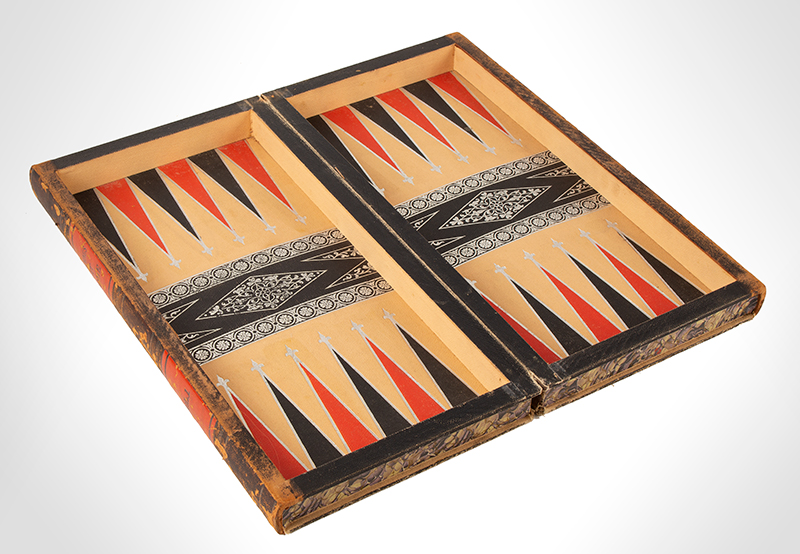 Antique Book Form Gameboard, Folding Box, Checkers & Backgammon, Evenings at Home, 19th C.  Pebbled and embossed paper over cardboard and wood frame; embossed chips, entire view 3