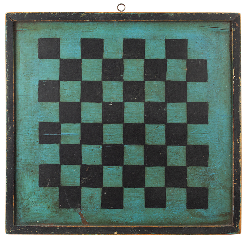 Antique Gameboard, Checkers, Original Blue Painted Surface, Double Sided Unknown maker, vintage…likely circa 1890-1900, entire view