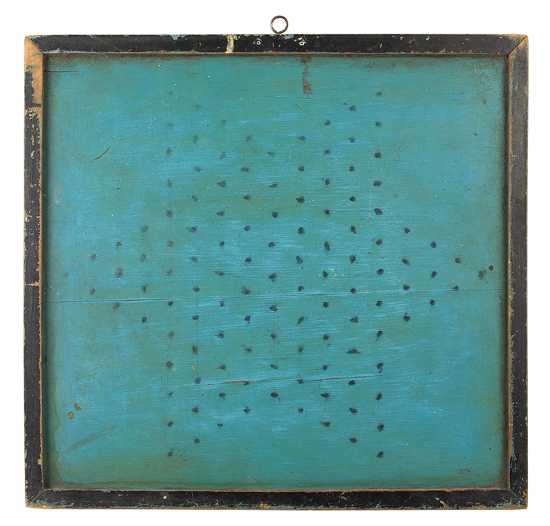 Antique Gameboard, Checkers, Original Blue Painted Surface, Double Sided Unknown maker, vintage…likely circa 1890-1900, back side view
