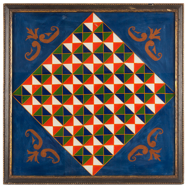 Gameboard, Reverse Painted on Glass, 19th Century