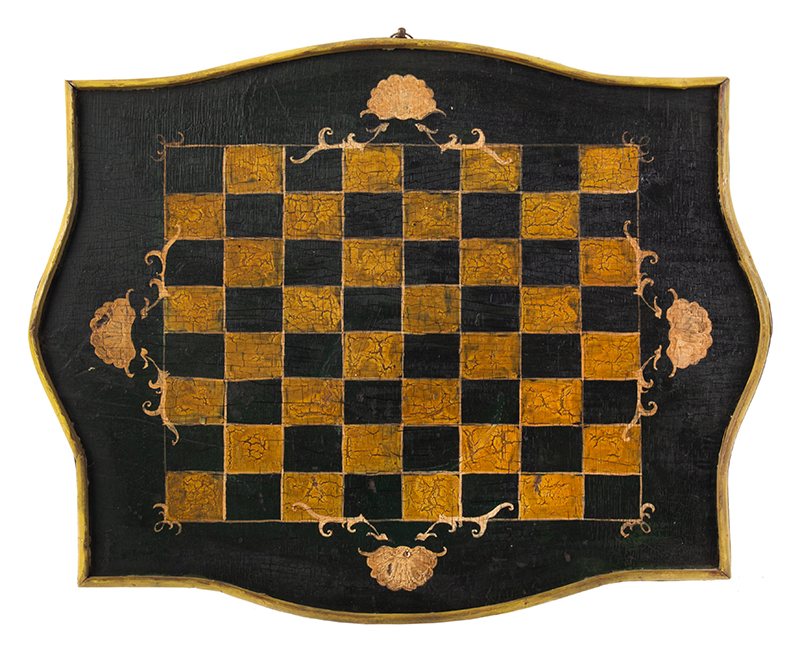 A Small Shaped & Paint Decorated Antique Checkerboard America, late 19th Century, entire view