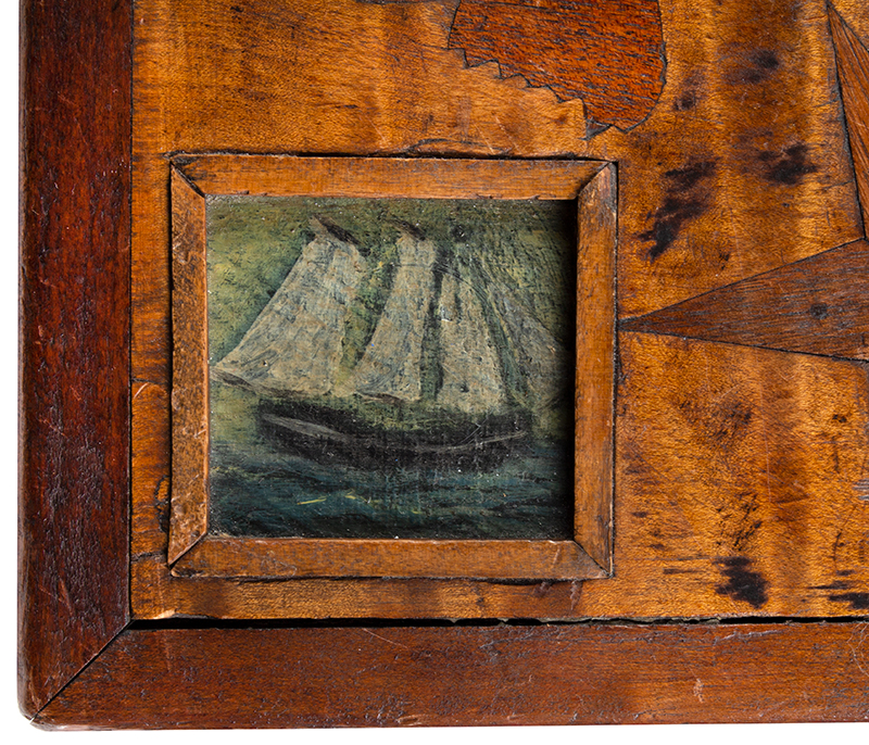 Antique Gameboard Table, Possibly Sailor Made Anonymous Maker, Purportedly Nantucket, 19th Century Curly maple, walnut, mixed woods, detail view 2