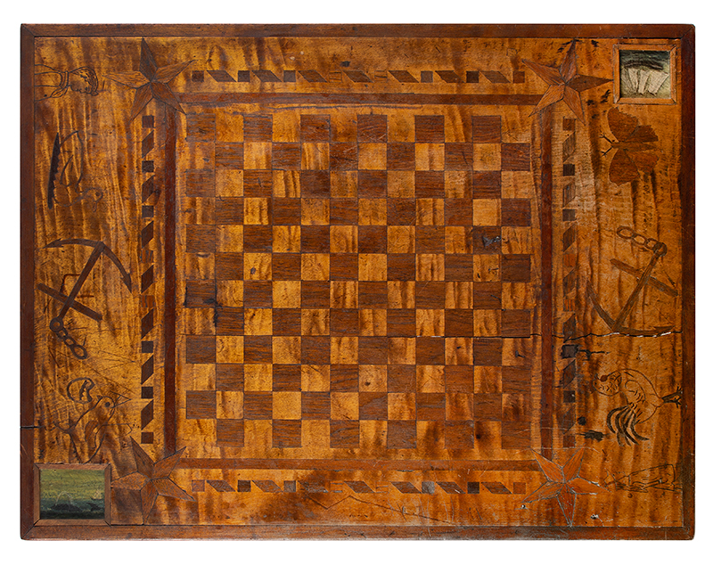 Antique Gameboard Table, Possibly Sailor Made Anonymous Maker, Purportedly Nantucket, 19th Century Curly maple, walnut, mixed woods, top view