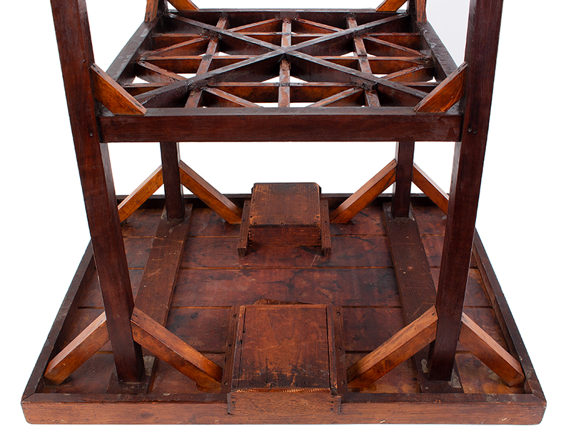 Antique Gameboard Table, Possibly Sailor Made Anonymous Maker, Purportedly Nantucket, 19th Century Curly maple, walnut, mixed woods, underside